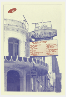 Poster advertising A.S. Sunday Film Series.  Theatre printed in blue, with show schedule in red appearing on the theatre's signboard.  Red UFO appears top left.