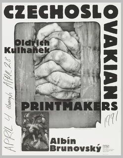 "Poster advertising ""Czechoslovakian Printmakers:  Oldrich Kulhanek, Albin Brunovsky"" at Davidson Galleries.  Composed of two overlapping images, the largest being a pair of clasped hands emerging from a cardboard box, captioned:  ""'Intertwining (Propletence)' Color lithograph, 1985. 19 1/2 x 16 inches.""  The smaller, overlapping at the bottom left corner of the reproduction of ""Intertwining"", features a large six-headed dragon breathing fire, captioned:  ""'The Drunken Dragon' Etching. 1990. 7 1/2 x 5 inches."""