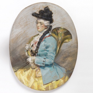 Three quarter protrait of a woman wearing a black hat, facing left. She is dressed in a blue coat, yellow skirt and white jabot. On her right arm she supports a brass hunting horn.