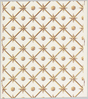 White ground. Diagonal lattice at the intersections of which are quatrefoil sprigs, and at the center of each diamond thus formed are small floral medallions. Yellowish brown bamboo lattice. Gray shading.