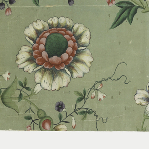 Vining floral design. Many different species of brightly colored flowers growing off a meandering vine. Painted on medium green ground.