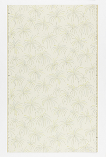 "Faintly marbleized ground, pale yellow, with all-over pattern of thinly outlined chrysanthemum-like shapes. Drop repeat, straight match. In margin:""Hosel Tapete 5111""."