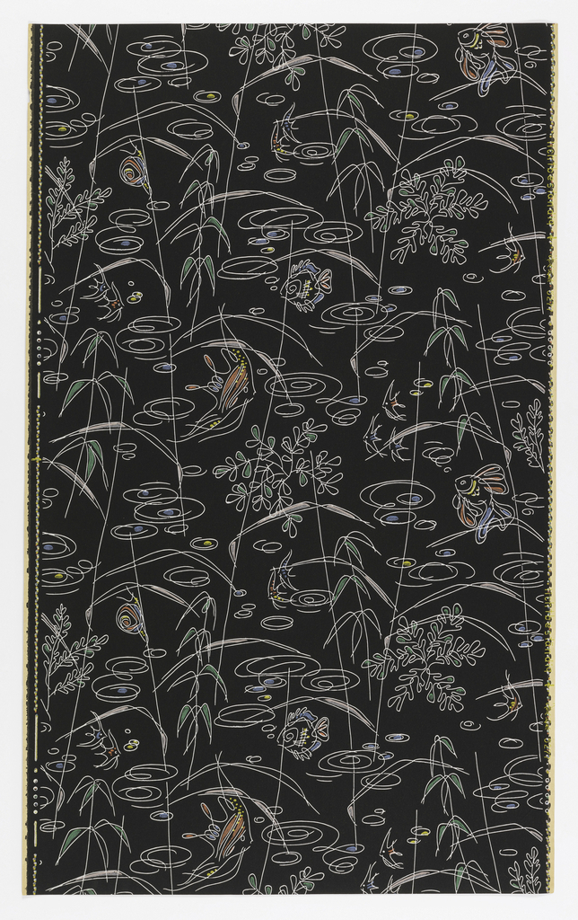 "Bathroom paper printed in 3 color ways. a) Plain brown ground, with marine vegetation and various kinds of fish in pale yellow, green, blue and red; b) same design, on black ground; c) Same design, gold on green ground. Drop repeat and match. In margin: ""Lichtbest-andig Hosel Tapete 5277""."