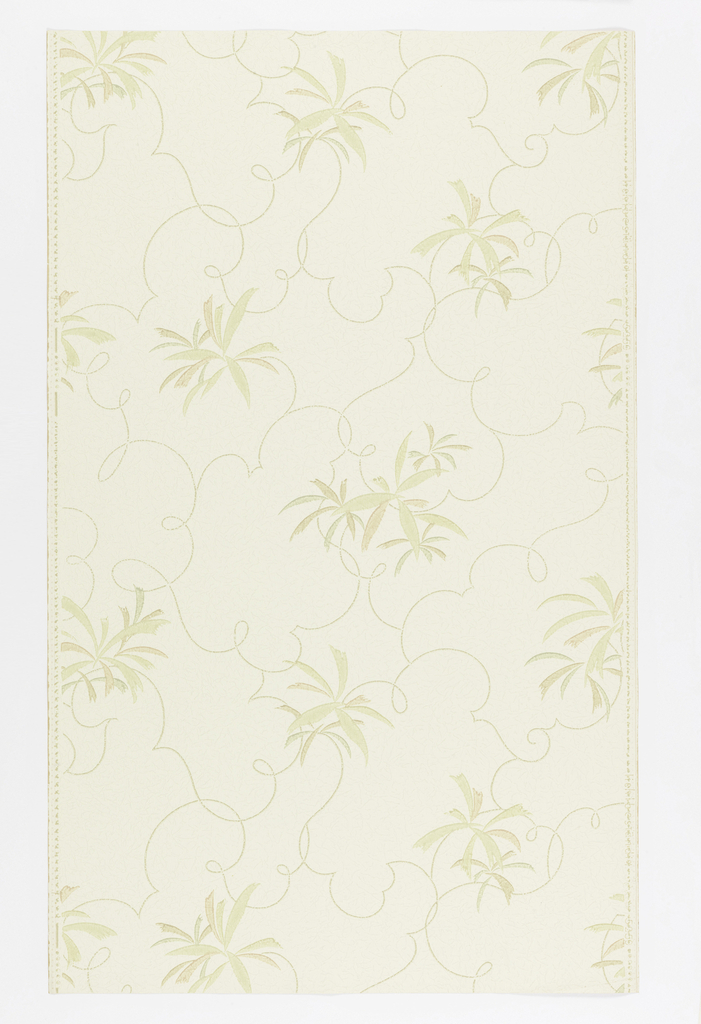 """Pale yellow ground with parchment-like texture. Green and brown leaves in bunches, connected with looped, curved lines. Straight repeat, drop match. In margin: """"Lichtbestandig Hosel Tapete 5259""""."""