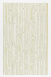 "Grayish ground with vertical lines in white, green and yellow, suggesting bamboo. Straight match. In margin: ""Hosel Tapete 6062""."