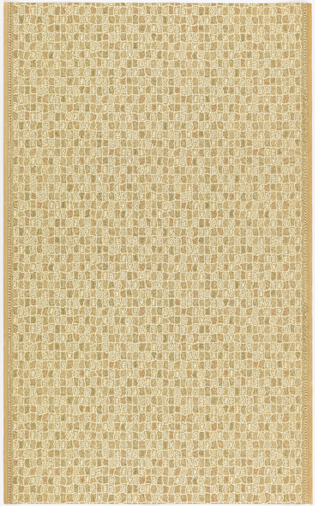 "a) On a glossy, mottled beige ground, a mesh of wavy horizontal and vertical lines in white relief, with small motifs in white relief, red and gray. Straight repeat and match. In margin: ""Hosel-Tapeten 5131""; b) Same, on more yellowish ground."