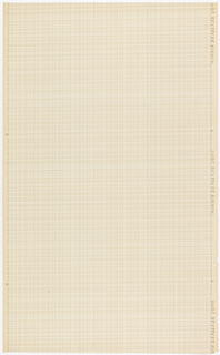 On eggshell-colored paper a fine plaid pattern in pale beige, beige, blue and white. Straight match.