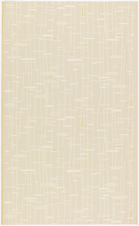 "On a plain, grayish tan ground irregular vertical lines crossed by horizontal lines, oval figures, waves and rows of small rectangles in oyster white, yellow, two greens and salmon. Straight repeat, drop match. In margin: ""Lichtbestandig Hosel Tapeten 5283."""