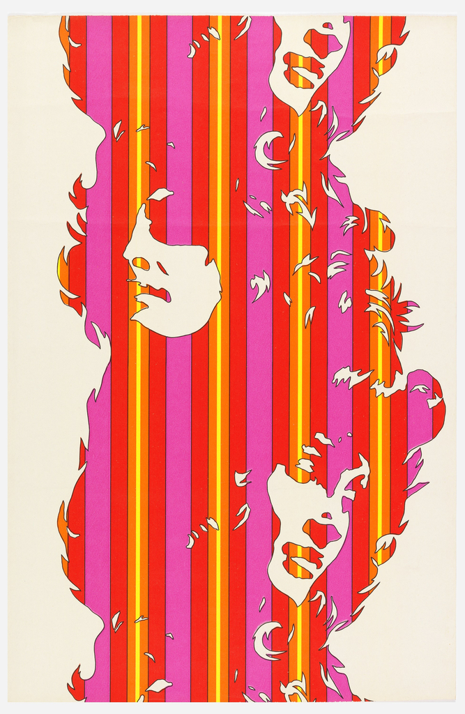 Silhouettes of women's faces, alternately facing left then right, forming a column-like motif. The silhouette is composed of thin stripes in brilliant shades of red, purple and yellow. Printed on a white ground.