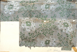 Repeating design of Queen-Anne's lace. Printed in green and white on off-white or gray ground.