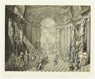 A crowd in fancy dress in a hall, showing a buffet in the center of a peristyle in the rear; the musicians are disposed in balconies left and right; onlookers in galleries above.