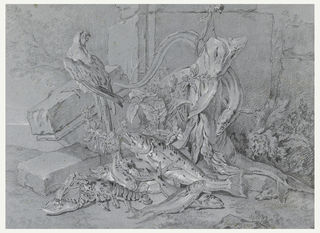 Drawing, Still-life with Fish and Parrot