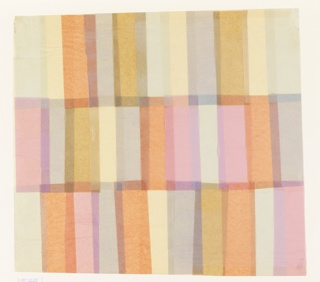 Three horizontal rows of pink, light blue, yellow and light brown colored tissue arranged to form overlapping rectangles.
