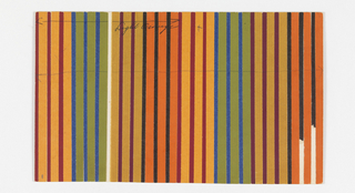 Pattern of vertical stripes in red, orange, blue, green, ochre, maroon, black and gold cut papers.