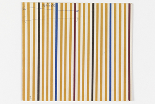 Pattern of repeating vertical ochre, white, black, blue, and maroon stripes.