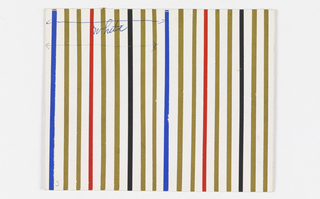 Pattern of repeating blue, white, red, and black vertical stripes.