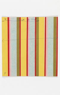 Pattern of repeating yellow, red, pink, aqua, and green repeating vertical stripes of pasted tissue paper.