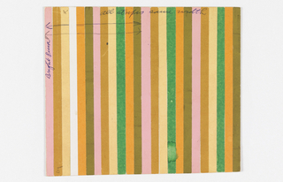 Pattern of repeating pink, brown, ochre, orange, and green repeating vertical stripes of pasted colored paper.