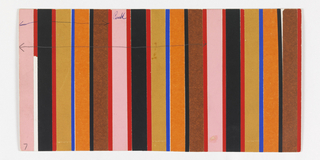 Pattern of pink, red, black, ochre, blue, and orange repeating vertical stripes of pasted colored paper.