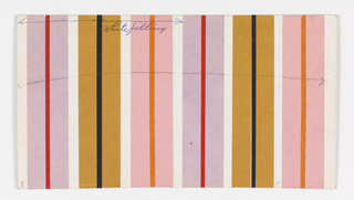 Pattern of repeating lavender, red, brown, black, pink, and orange vertical stripes of pasted colored paper.