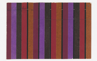Pattern of repeating dark purple, violet, black, red, and brown vertical stripes of pasted colored paper.