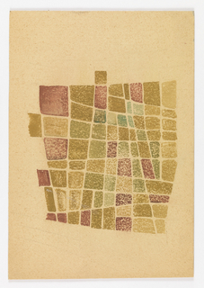 Pattern of irregular rectangles delineated in graphite and colored, blue and green, yellow and brown, and purple.