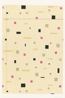 Randomly scattered small pink, black, gray and gold squares and rectangles pasted to a white background. In graphite two ruled lines, one defining right margin and one across lower edge of sheet.