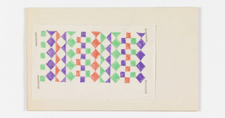Geometric pattern of squares, diamonds and triangles. The colors of the repeat form continuous vertical bands running through the pattern.