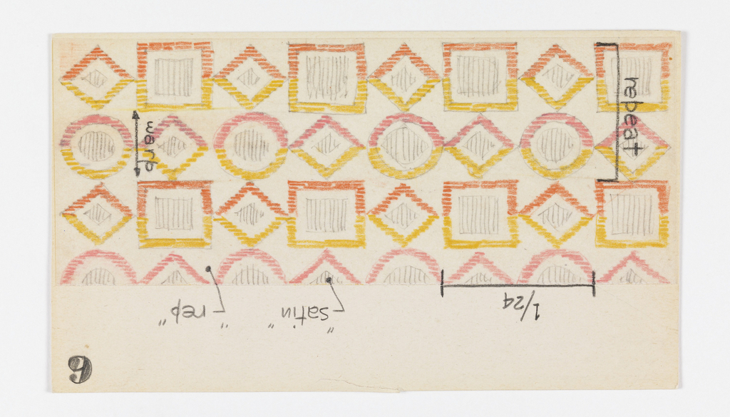 Drawing, Textile Design: Inventory Card