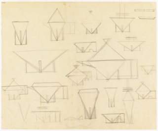 Multiple sketches for bowls, covered vessels, and candlesticks featuring strong geometric elements, particularly triangles.