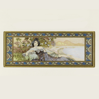 Reclining female figure with dark hair, in purple dress, posing in landscape. Ornamental blue frame.