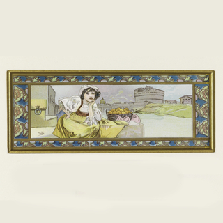 Female figure in a landscape; ornamental border.