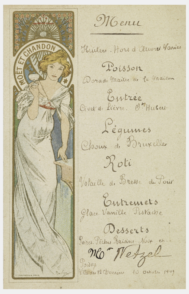 Standing female figures in white dress, holding a parasol on left. Menu items on right.