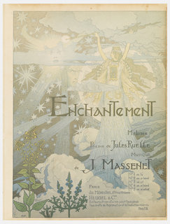 "Crowned goddess/fairy-like figure on the right amid a cloudy and starry sky. ""ENCHANTEMENT"" written across center of sheet."