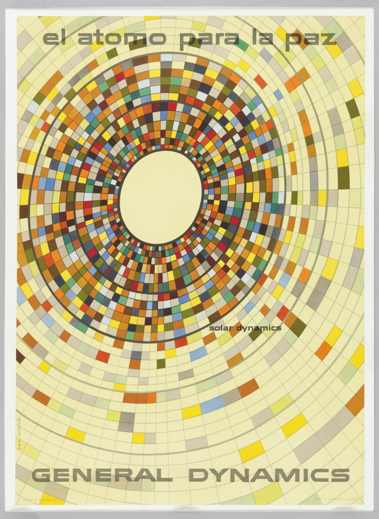 Poster depicts an oculus of digital blocks of color, growing more concentrated as the blocks get smaller and closer to the center. Above: el atomo para la paz; below: GENERAL DYNAMICS; center right: solar dynamics.