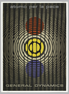 Poster depicts three circles in vertical placement, red, yellow and blue, overlayed by black concenctric circles with vertical stripes; somewhat remeniscent of a thumbprint. Upper margin, in gray: atomo per la pace; lower margin: GENERAL DYNAMICS.