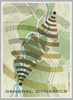 Poster depicts abstract topographical map with arcs in black and brown. Upper left: electronic intellegence; lower margin: GENERAL DYNAMICS.