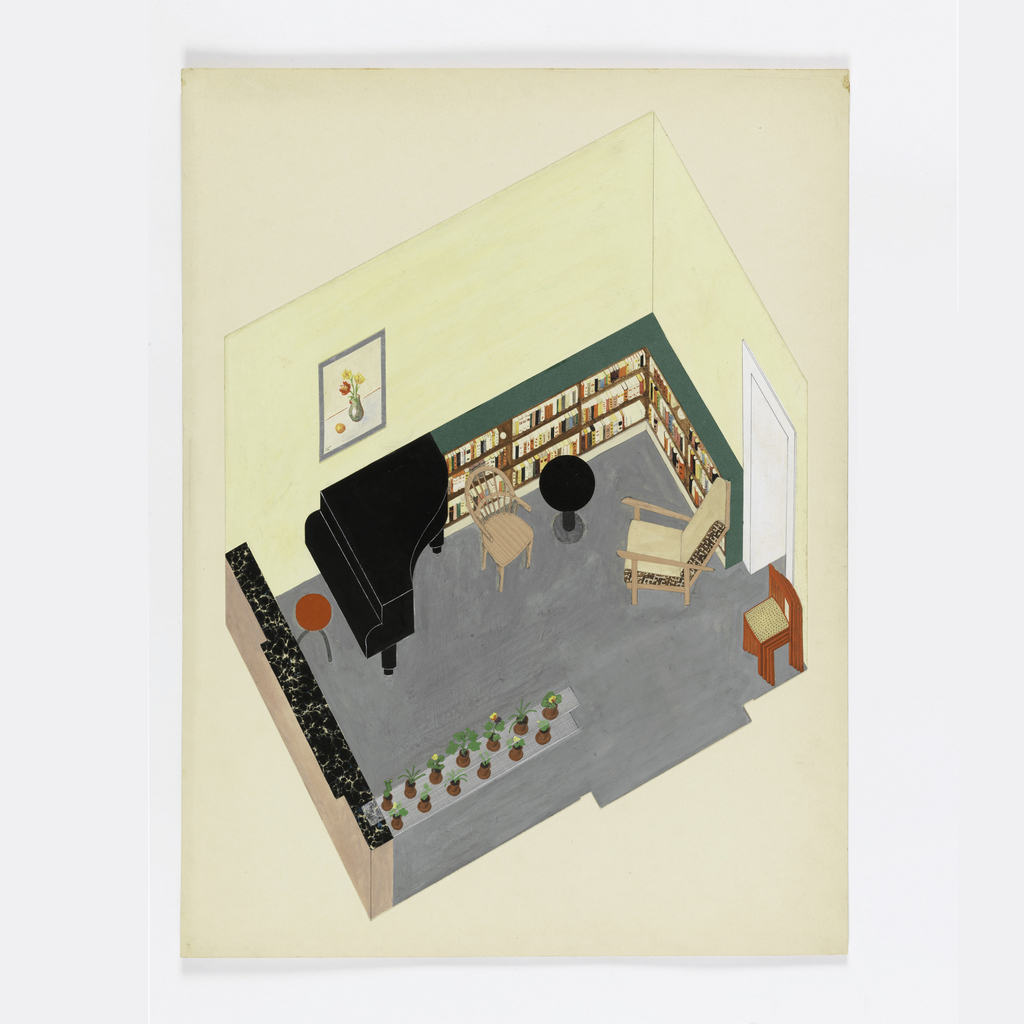 Drawing, Design for a Modern Living Room with Piano