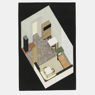 Axonometric view of bedroom/dining room area in foreground with sofa bed and square table and chairs and gray walls, and breakfast room indicated by green walls, brown linoleum with black box modern stove at left and tall cabinet and drop-leaf table and two chairs against right wall. The two areas can be closed off by a pocket folding door indicated by tall brown column center left.