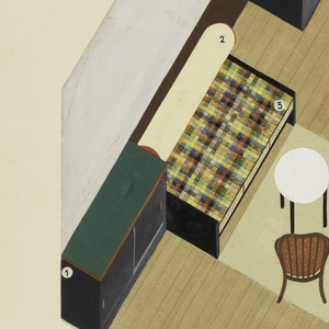 Axonometric view of rectangular windowed living room/bed room with plaid-covered studio bed with rolled cream-colored bolster on top long wall.  To the left of the bed is a built-in cabinet with sliding doors.  A table with white top and two bent wood chairs with red cushions are grouped near the studio bed.  On the opposite wall are black and reddish-brown painted book shelves and on the short right wall, beneath the window, is built-in green-topped desk with black cabinets beneath on each end.  Numbers affixed to the surface of the drawing suggest it was or planned to be published.