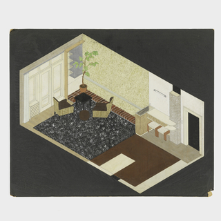 Axonometric view of rectangular room with living/plant area upper-left and dining area at lower-right.  Living room has black and white carpet over wood floors on which are two brown upholstered rattan chairs grouped with a brown stool and square black table in corner against a low brick ledge running along long wall with plant on it.  Dining area with brown-painted? floor.  Horizontal hanging cabinet on long wall with red stacking stools beneath.  A single florescent tube light fixture on wall above the cabinet. To the right of cabinet, the main door to apartment to another room.