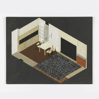 Drawing, Design for Living Room with Dining Area