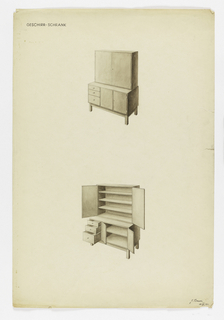 Two views of modern high boy cabinet on square legs; closed above and open below.  Cabinet consists of two drawers at left next to closed shelves below and three-shelf unit with doors on top.