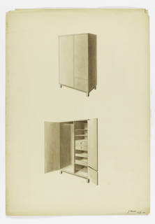 Design for a modern armoire on square legs, closed above, open below.  Area for hanging on left with closed drawers, pull out shelves and open shelves, and shoe racks on right.