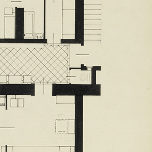 Floor plan shows, at lower left, a room with piano and, at lower right, a living room; above these,on left, a bedroom and, on right, a kitchen.  Between the two pairs of rooms is a wide tiled hall with a watercloset. The room with piano corresponds to the interior design 1997-109-4; the living room corresponds to interior design 1997-109-8.