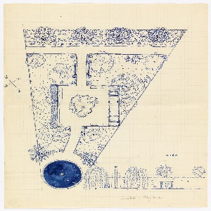 Plan and elevation of a triangular garden with circular pool/fountain at one point.
