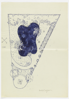 Plan of a triangular garden with pool/fountain at center.