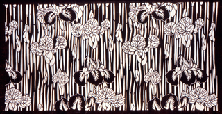 Repeated motif of irises on a striped background.