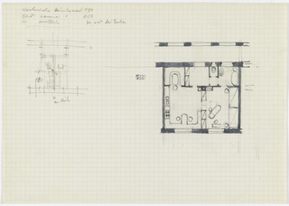 Architectural floor plan. Sketch on left with notations.