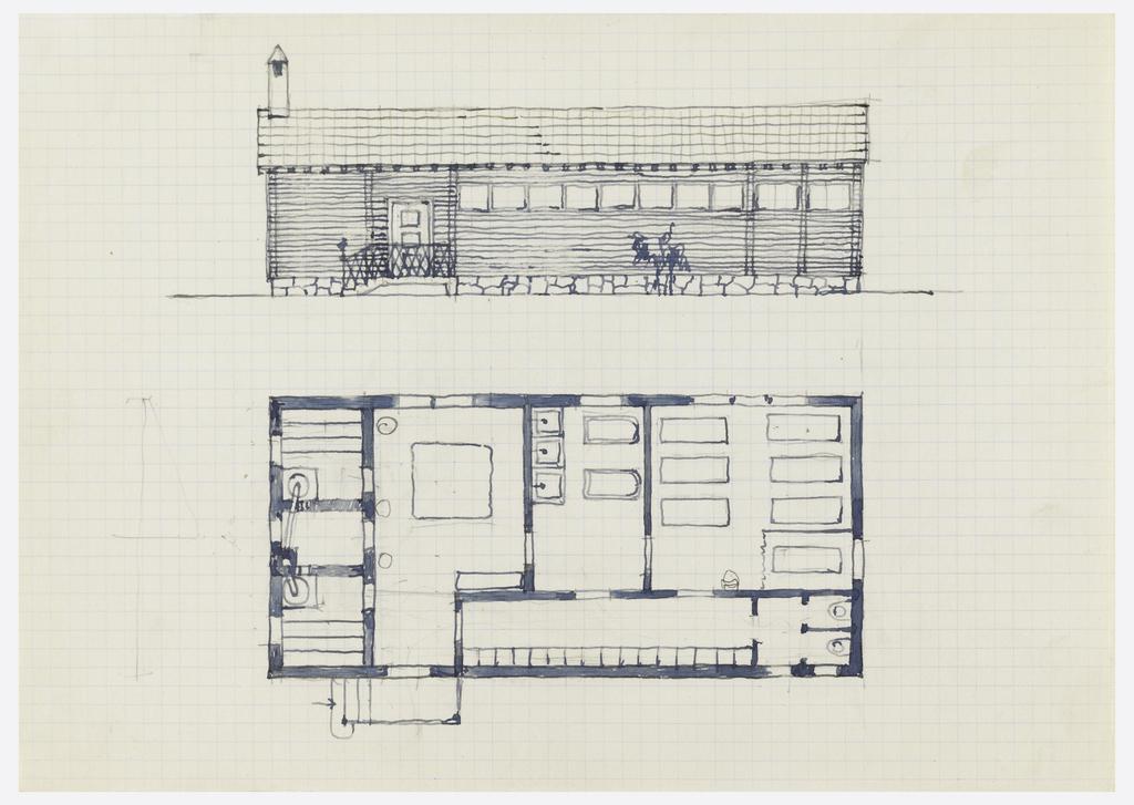 Sauna floor plan and elevation.